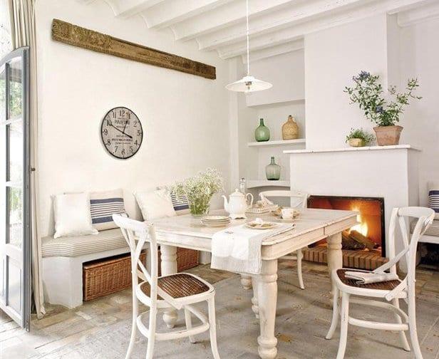küche interior design mit rustikalem Esstisch weiß aus holz und kamin weiß