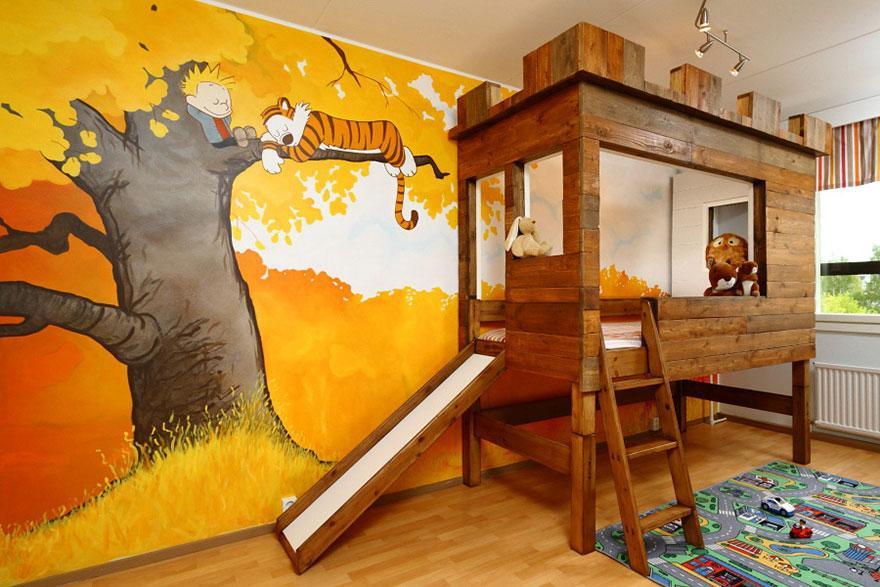farbe kinderzimmer und DIY Hochbet mit rutsche