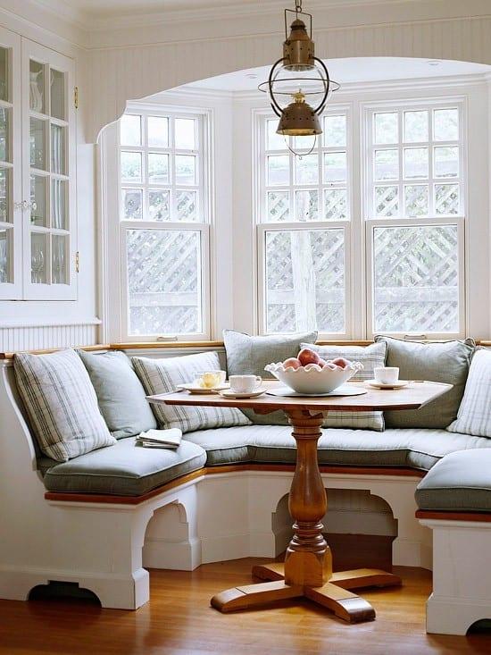 holzesstisch für weiße sitzecke küche mit sitzfläche aus holz
