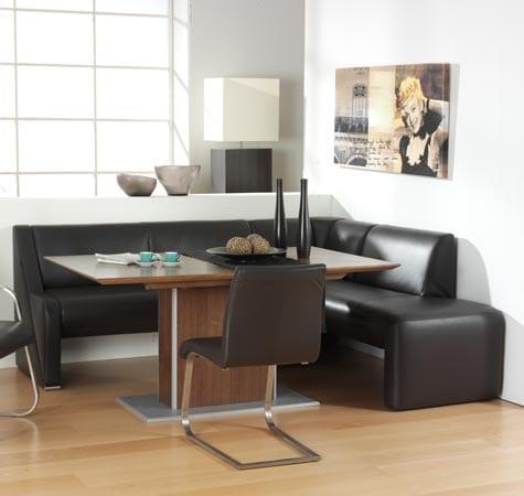 moderne küche mit sitzecke leder und Esstisch holz