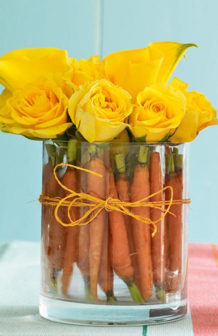 tischdeko idee mit gelben rosen und karotten
