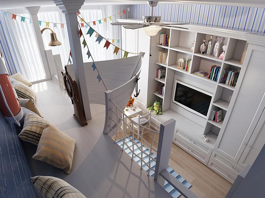 Segelboot terrasse im Kinderzimmer als sitzfläche