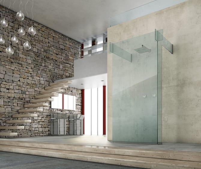 moderne badezimmergestaltung mit sichtbetonwänden und natursteinwand und badezimmer einrichten mit glasduschkabine