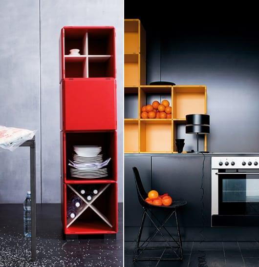 modulare möbel in rot und gelb für moderne küche einrichtung