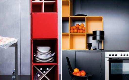moderne k che einrichten mit k chenregal modular in rot und gelb freshouse. Black Bedroom Furniture Sets. Home Design Ideas