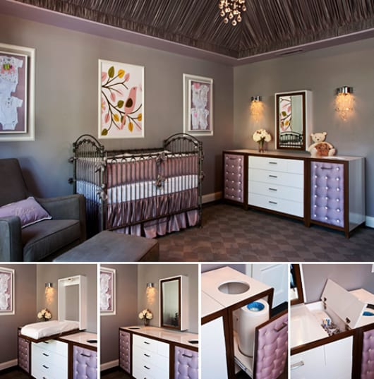 coole babyzimmermöbel und wandfarbe lila als hintergrund für wandgestaltung mit weißen bilderrahmen