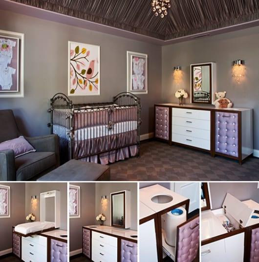 coole babyzimmermbel und wandfarbe lila als hintergrund fr wandgestaltung mit weien bilderrahmen - Moderne Babyzimmer