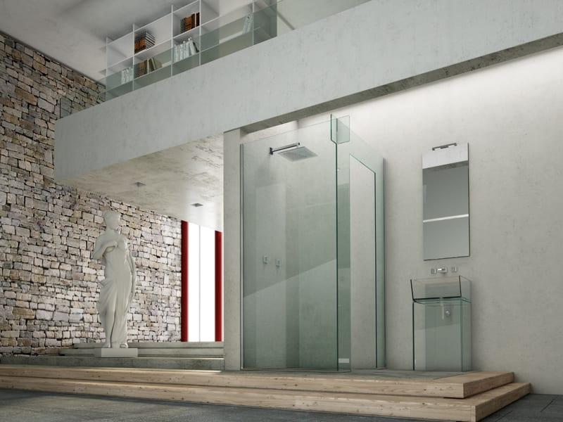 luxus wohnzimmer inspirationen für mezzanin wohnung mit luxus badezimmer und moderner Duschkabine aus glas