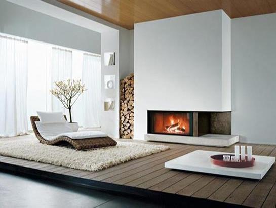 minimalistische interior für luxus wohnzimmer mit kamin und rattanliegestuhl