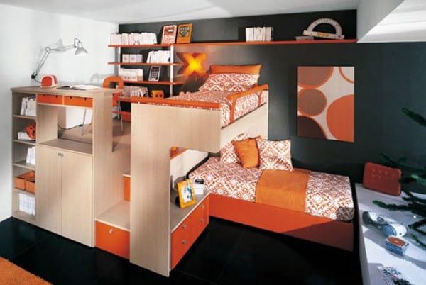 kinderzimmer farbgestaltung in schwaz und orange