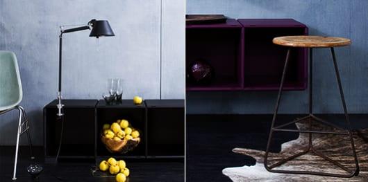 sideboard schwarz und höngesideboard lila dekorieren