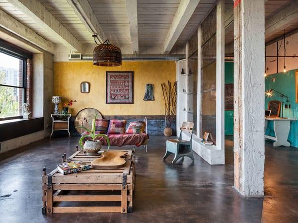 licht idee wohnzimmer mit Raumteiler aus Ecoresin wandpaneelen zwischen Arbeitsplatz und wohnzimmer