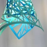 blaue lampe aus papier selber bauen_coole bastelideen mit papier