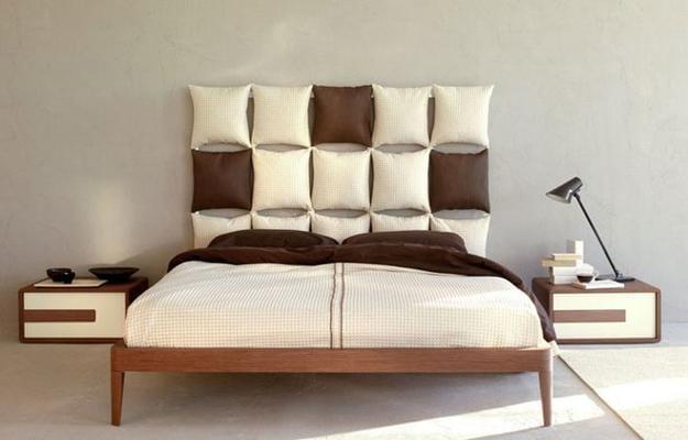 ideen für wandgestaltung vom schlafzimmer grau mit DIY kopgbrett aus Kissen