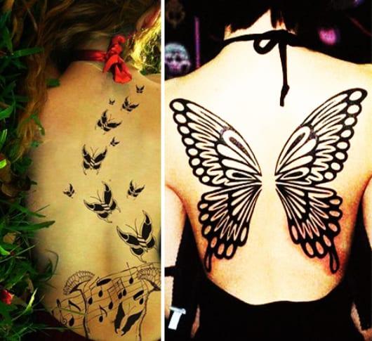 interessante tattoo ideen für den rücken mit schmetterlingen als frauen tattoo vorschlag
