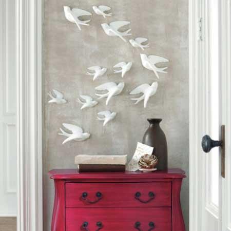 wohnideen flur mit sideboard rot und DIY Wanddeko