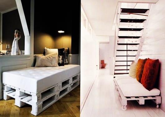 weiße sofa aus europaletten mit weißer sitzmatte für moderne flurgestaltung
