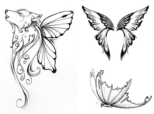 wolf schmetterling tattoo idee