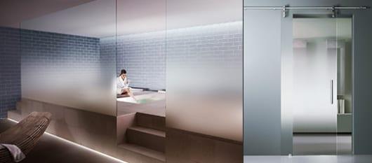 ideen für badezimmer mit satinierte Glasscheiben