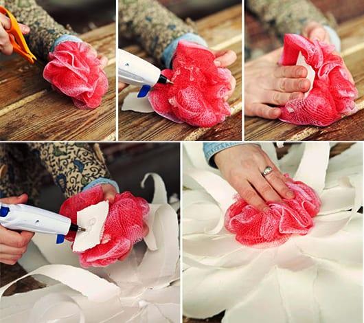 coole blumen aus papier basteln und mit badeschwamm verschönern