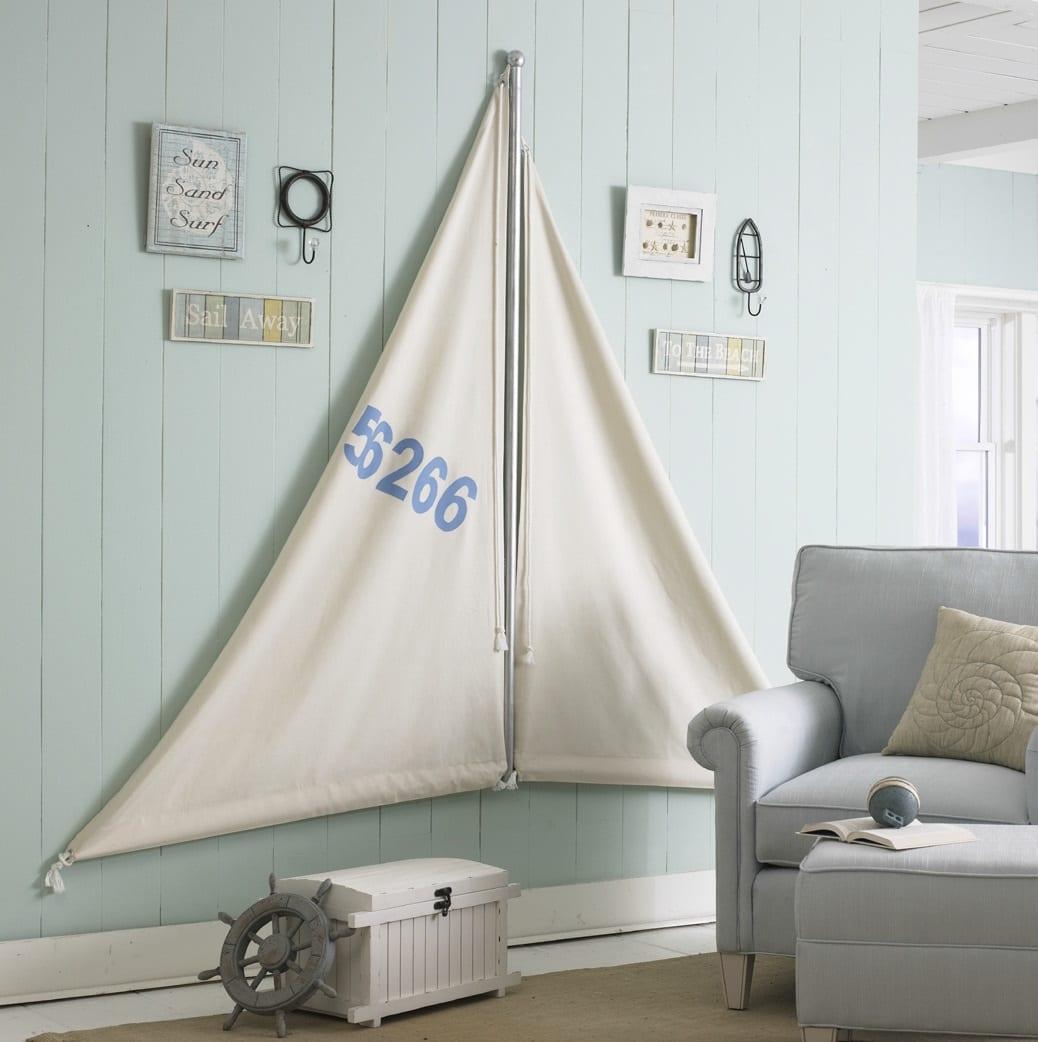 kinderzimmer wandfarbe Hellblau mit wanddeko segel weiß