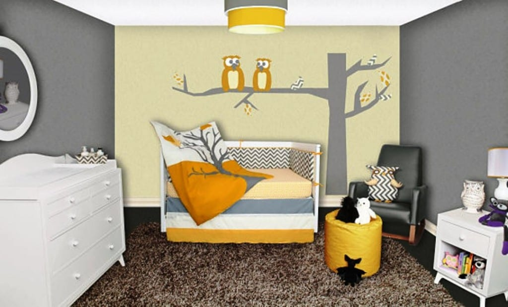 Babyzimmer Einrichten Und Dekorieren Mit Wandfarbe Grau Und Wandtattoo  Babyzimmer