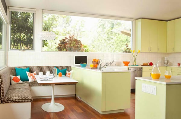 sitzecke küche mit polstersitze in braun