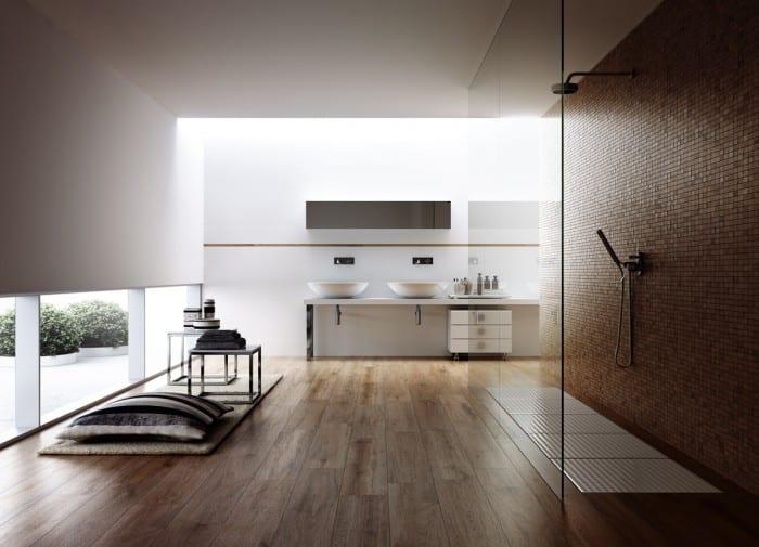 modernes badezimmer mit mosaik und holz und beleuchtung mit tageslicht dürch fensterband und oberlicht