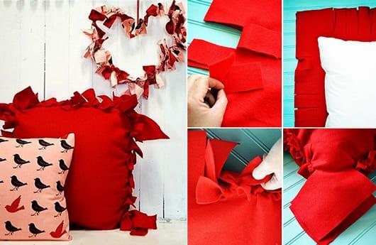 diy muttertagsgeschenke und kreative Bastelidee für DIY Kissenbezug rot
