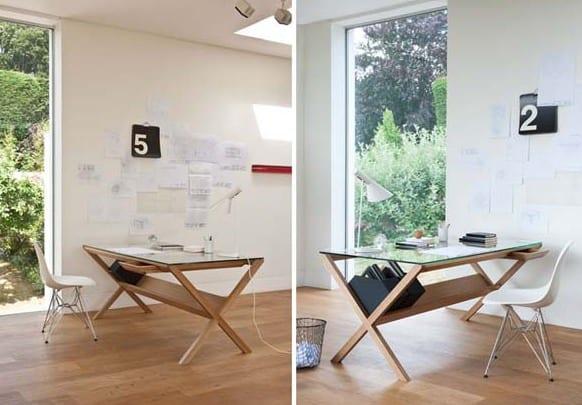 moderne büroräume einrichten mit DIY Schreibtisch aus Holz mit Aufbewahrung für Ordner