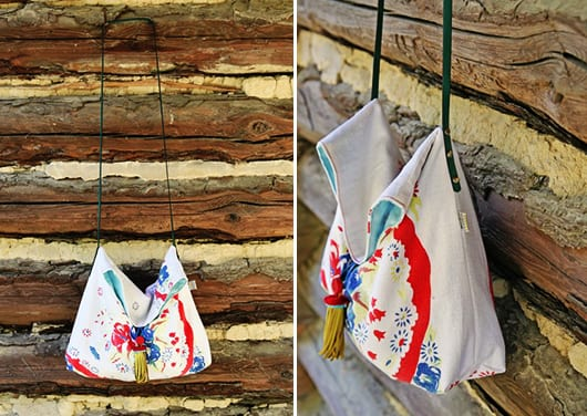 kreative bastelidee mit tischdecken für DIY Stofftasche
