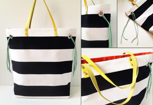 coole Bastelidee für DIY Geschenk mit Stofftasche und lederhenkel gelb