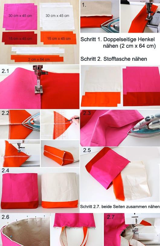 coole Bastelidee für DIY Stofftasche mit doppelseiten in weiß orange und pink