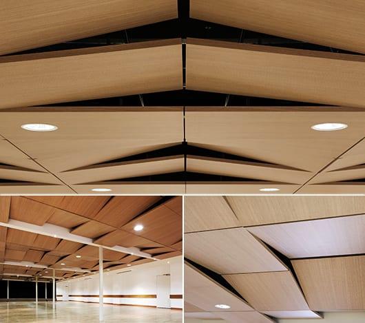 abgehängte Decke mit beweglichen Schallschutzpaneelen für moderne Decken und Raumgestaltung