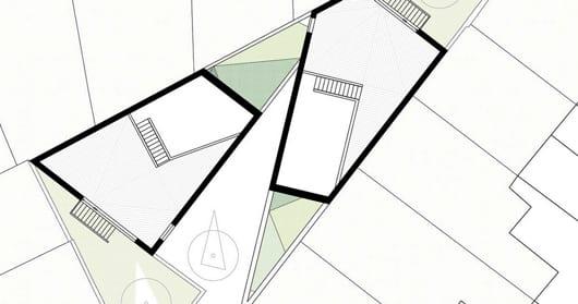 interessante Raumteilung eines dreieckigen Grundrißes
