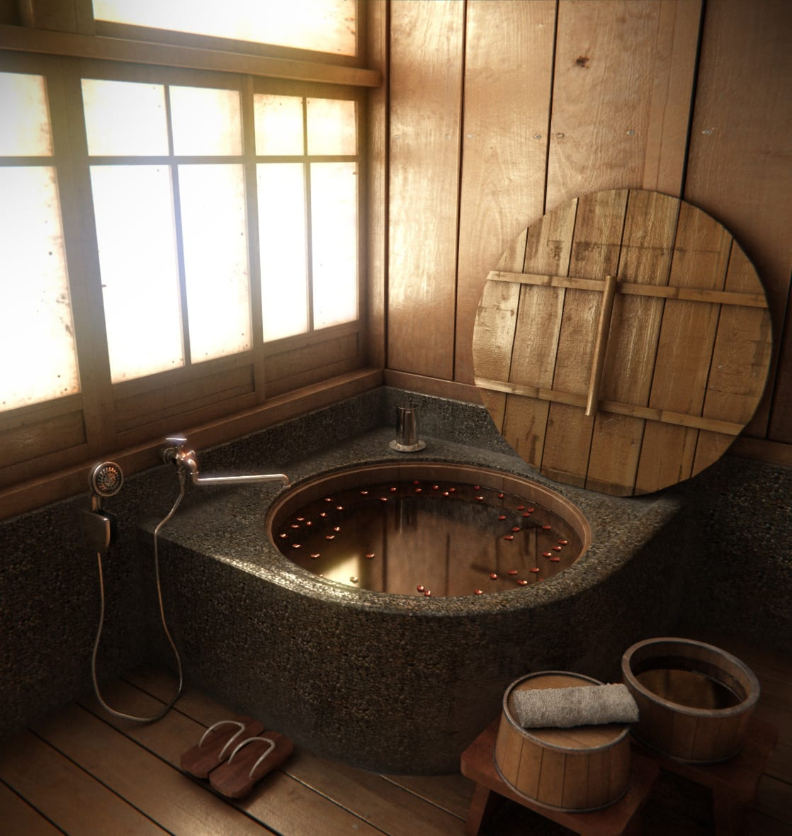 badezimmer holz mit runder badewanne mit holzdeckel