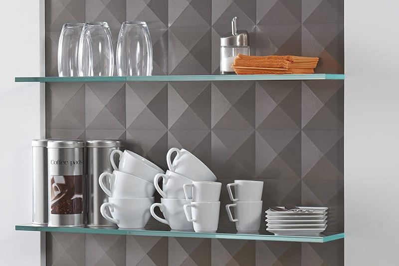 wandfarbe grau für modernes interior design mit 3D wandverkleidung aus Holz