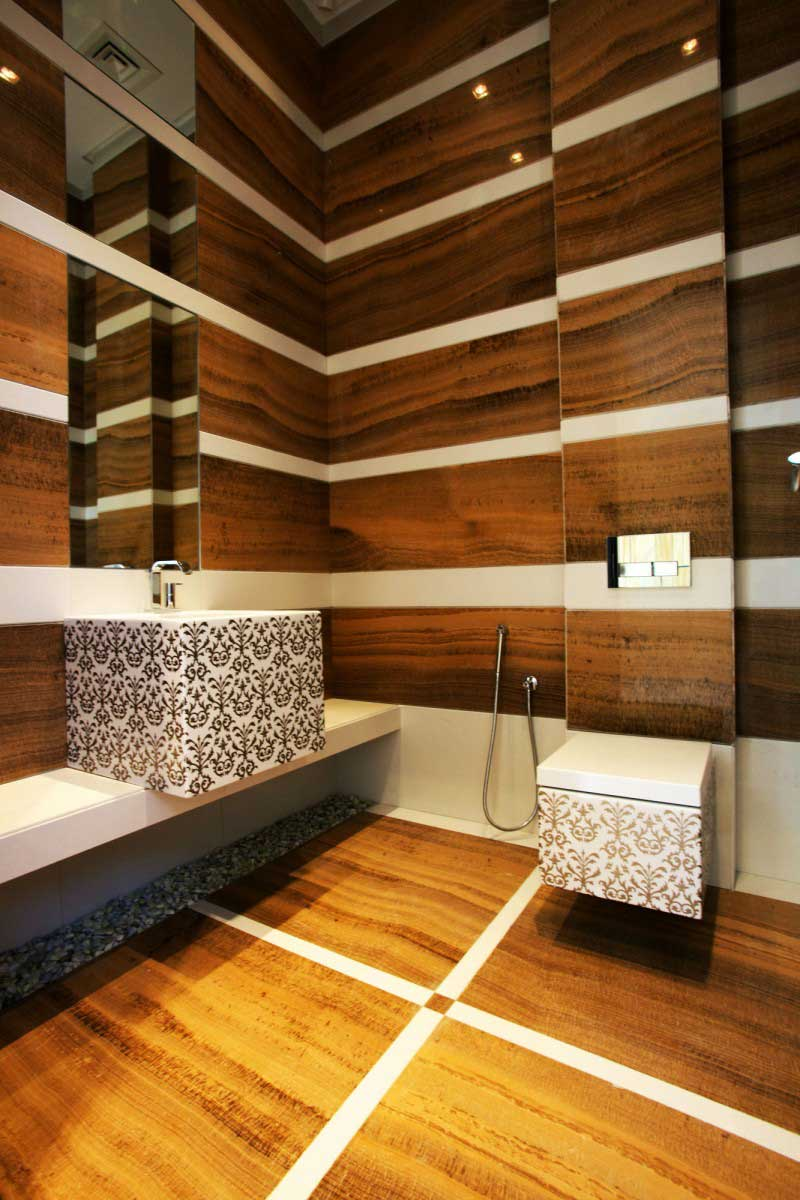 modernes badezimmer holz mit modernem waschbecken weiß