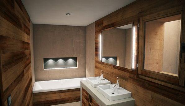 luxus badezimmer holz mit unterwaschtischschrank weiß und seitliche badezimmerspiegel beleuchtung
