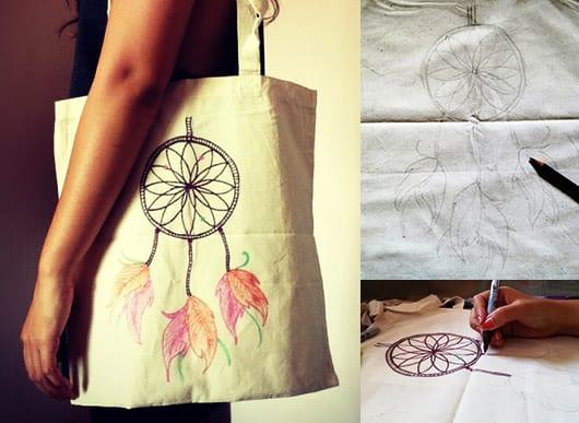geschenkidee mit DIY Taschendekoration mit farbigen Stiften