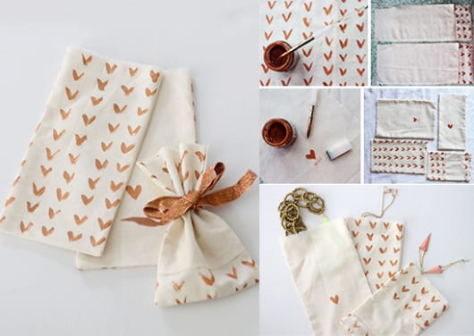 DIY Geschenktasche aus Textil mit gemalten herzen als Idee zum Valentinstag