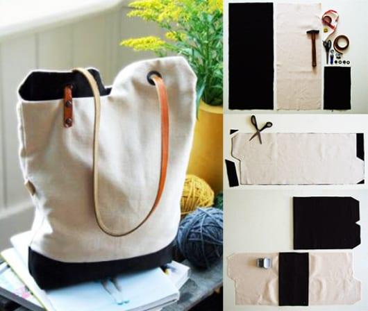 DIY Stofftasche schwarz weiß mit lederhenkel