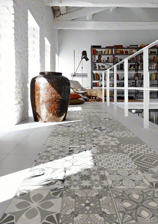 wohnzimmer inspirationen für moderne raumgestaltung mit weißen ziegeln und bodenfliesen weiß und grau