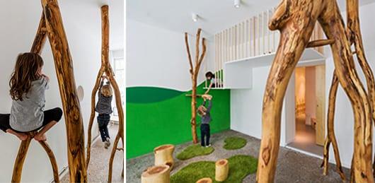 kreatibe kinderzimmergestaltung mit Holzzweigen zum klettern