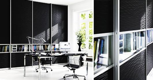 moderne Wandschränken mit schiebetüren aus Holz mit Wellenstruktur