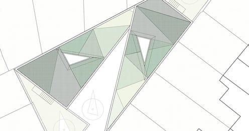 idee für dachbegrünung in dreieckmuster