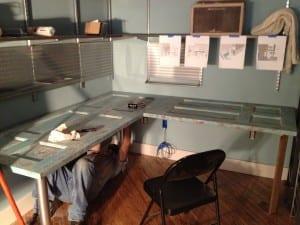 DIY Schreibtisch von holztüren als ecktisch