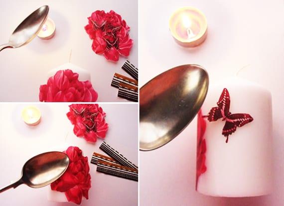 bastelidee fpr DIY Kerze mit dekoration aus Papierservietten