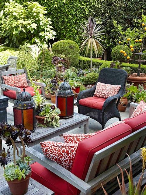 garten terrasse gestalten mit holz grau