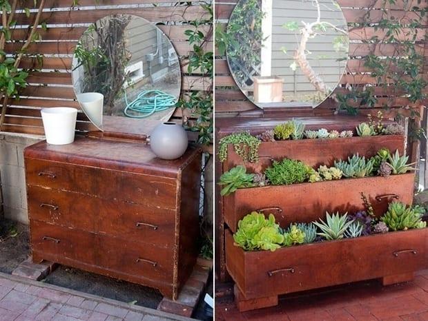DIY gartendeko aus sideboard rustikal und pflanzen